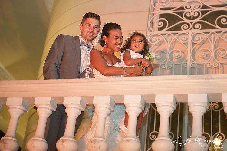mexico wedding bride groom and daughter