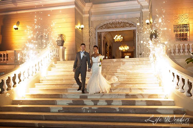 merida wedding photographs bride groom walking down stairs