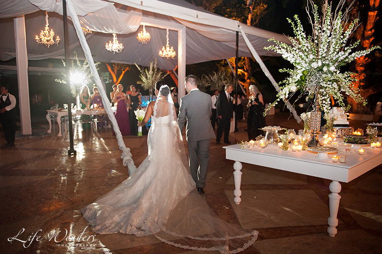 merida wedding bride groom entering reception