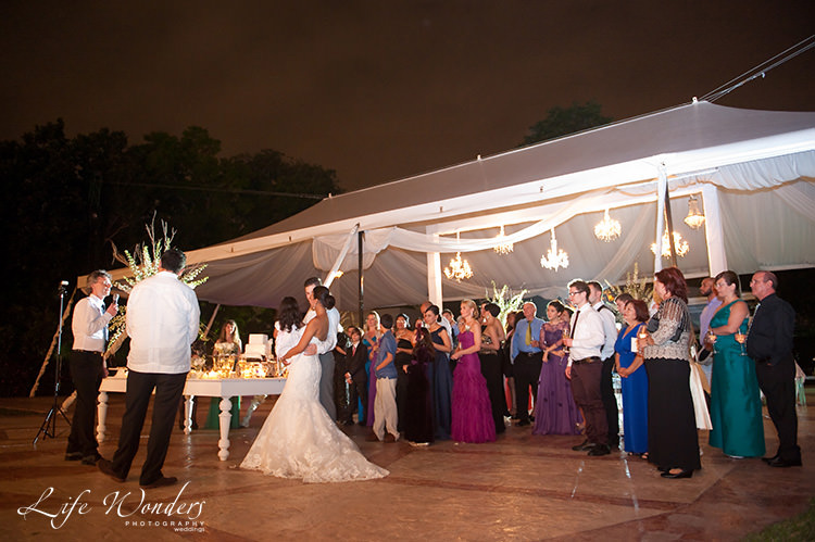 mexico wedding reception bride groom and whole family