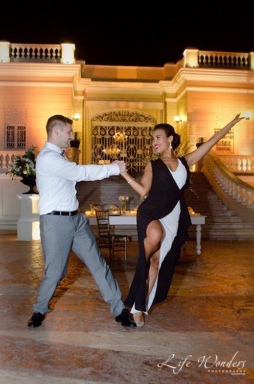 mayan wedding reception bride groom salsa dancing