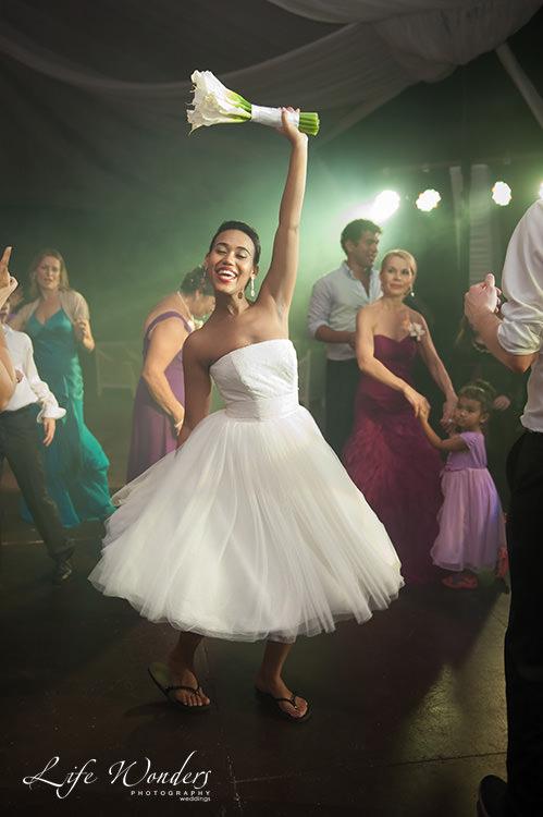wedding reception bride dancing
