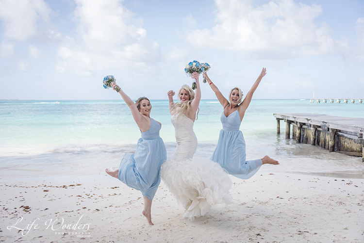 cancun wedding photographer bride groom with daughter