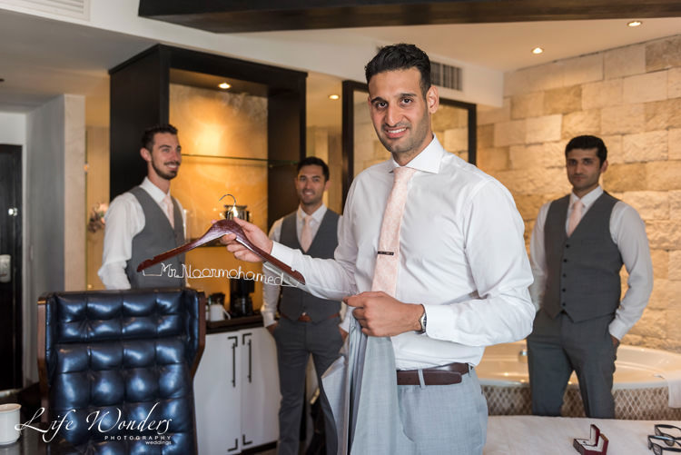 riviera maya wedding groom and groomsmen getting ready