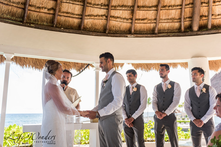 riviera maya wedding photographer beautiful bride groom being officiated
