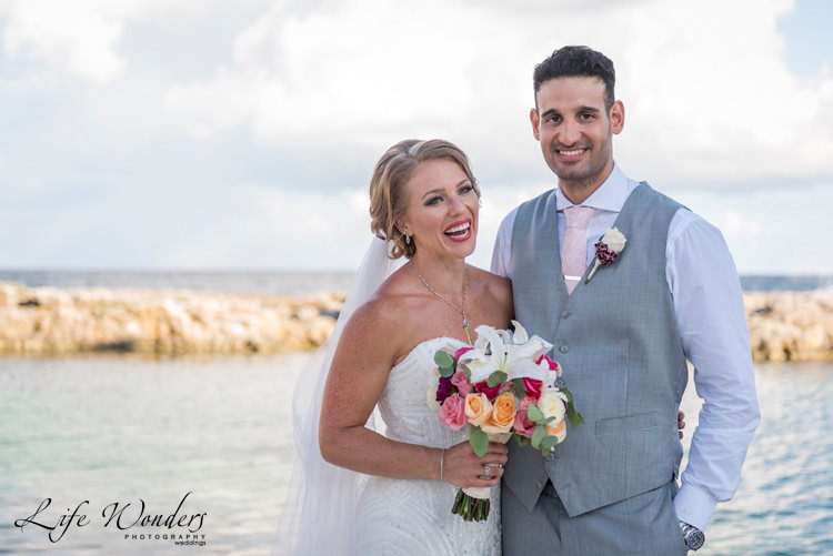 riviera maya photographer smiling bride groom photo session