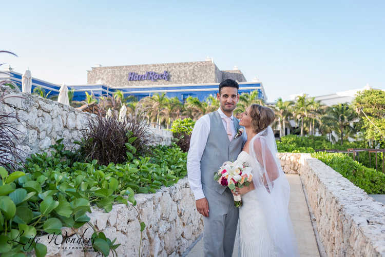 hard rock riviera maya wedding photographer bride smiling to her groom
