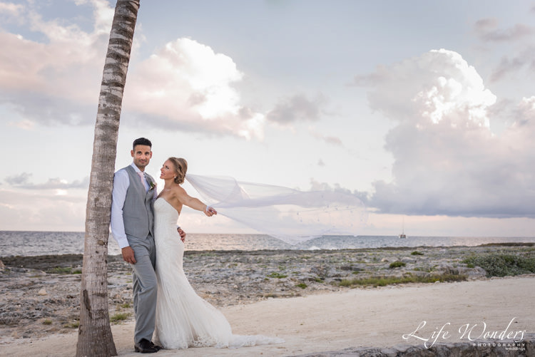 happy bride groom photo session on the beach side