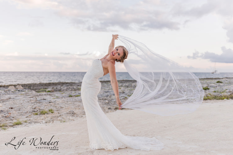 beautiful smiling bride in white wedding dress and veil