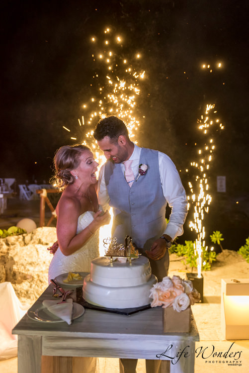 beautiful bride got surprised by fireworks