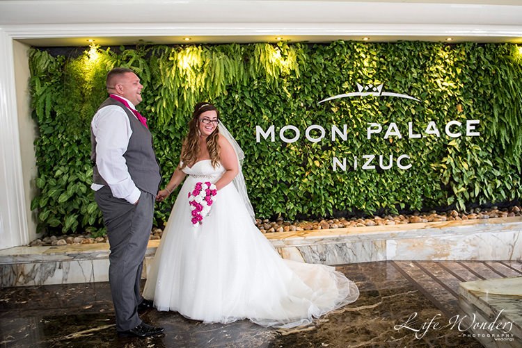 cancun wedding photography bride and groom moon palace resort